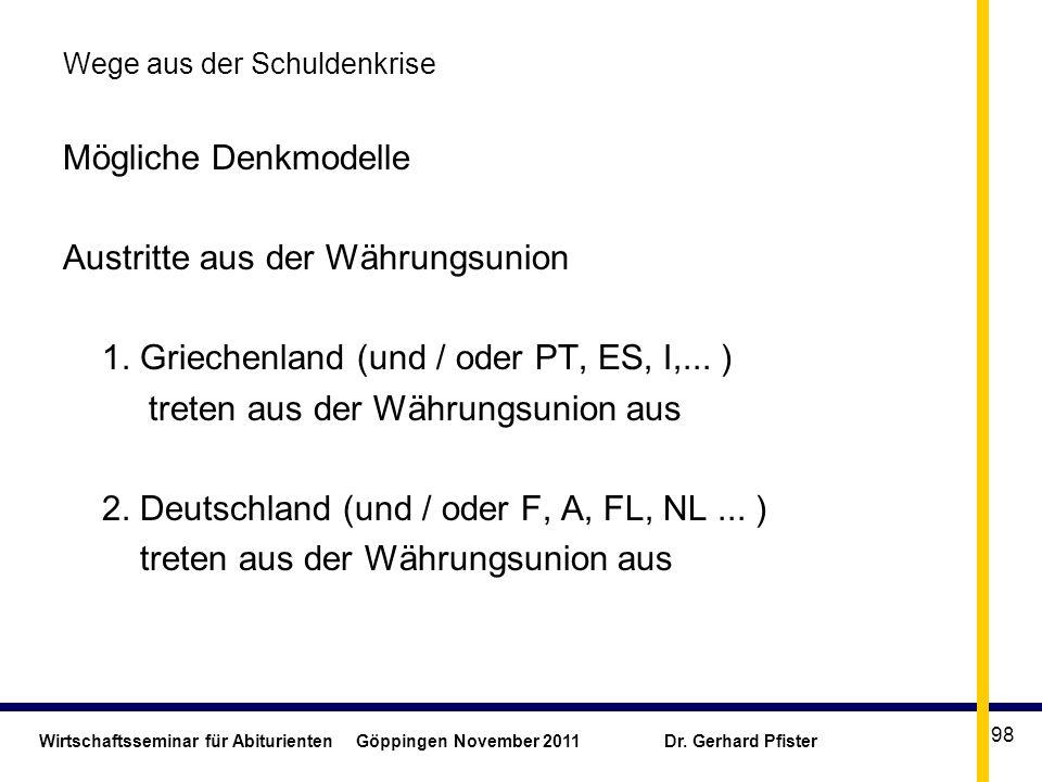 Wirtschaftsseminar für Abiturienten Göppingen November 2011 Dr. Gerhard Pfister 98 Wege aus der Schuldenkrise Mögliche Denkmodelle Austritte aus der W