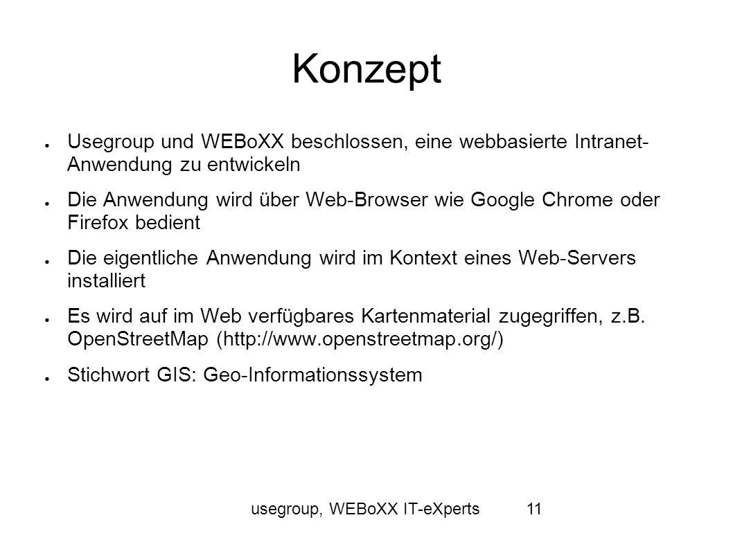 usegroup, WEBoXX IT-eXperts11 Konzept Usegroup und WEBoXX beschlossen, eine webbasierte Intranet- Anwendung zu entwickeln Die Anwendung wird über Web-