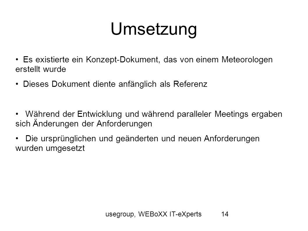 usegroup, WEBoXX IT-eXperts14 Umsetzung Es existierte ein Konzept-Dokument, das von einem Meteorologen erstellt wurde Dieses Dokument diente anfänglic