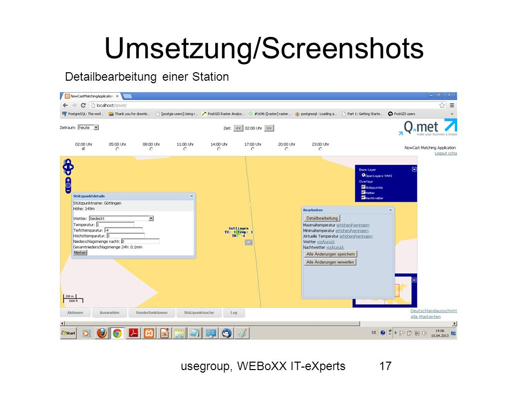 usegroup, WEBoXX IT-eXperts17 Umsetzung/Screenshots Detailbearbeitung einer Station
