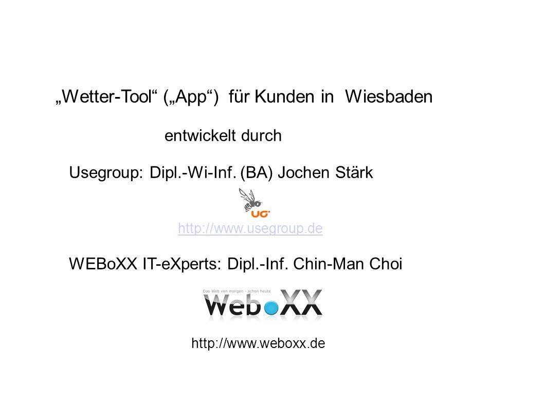 usegroup, WEBoXX IT-eXperts23 Ausblick Vorschlag von Jochen: Einführung eines Kartenservers Kartenserver Geoserver Anwendungs server Datenbank Beim Kunden App Kunden, Portal Wetter- stationen