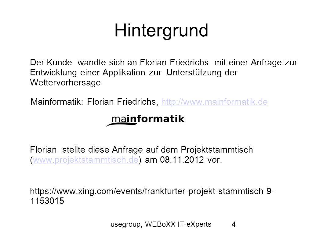 usegroup, WEBoXX IT-eXperts4 Hintergrund Der Kunde wandte sich an Florian Friedrichs mit einer Anfrage zur Entwicklung einer Applikation zur Unterstüt