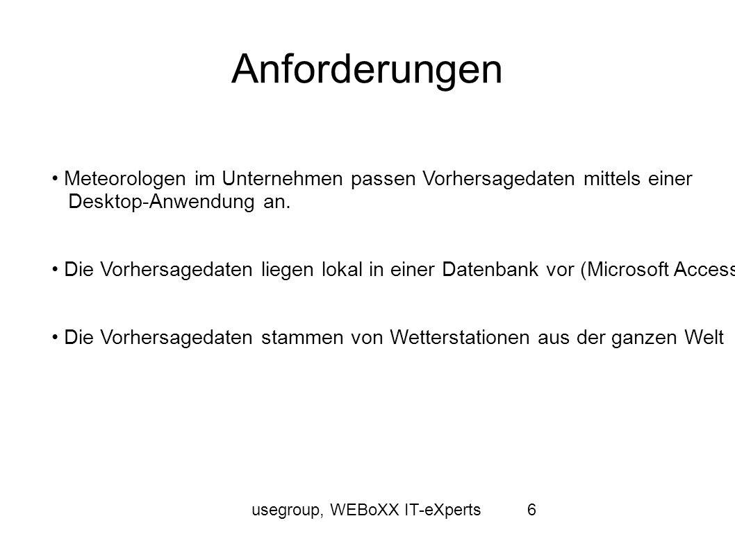 usegroup, WEBoXX IT-eXperts6 Anforderungen Meteorologen im Unternehmen passen Vorhersagedaten mittels einer Desktop-Anwendung an. Die Vorhersagedaten