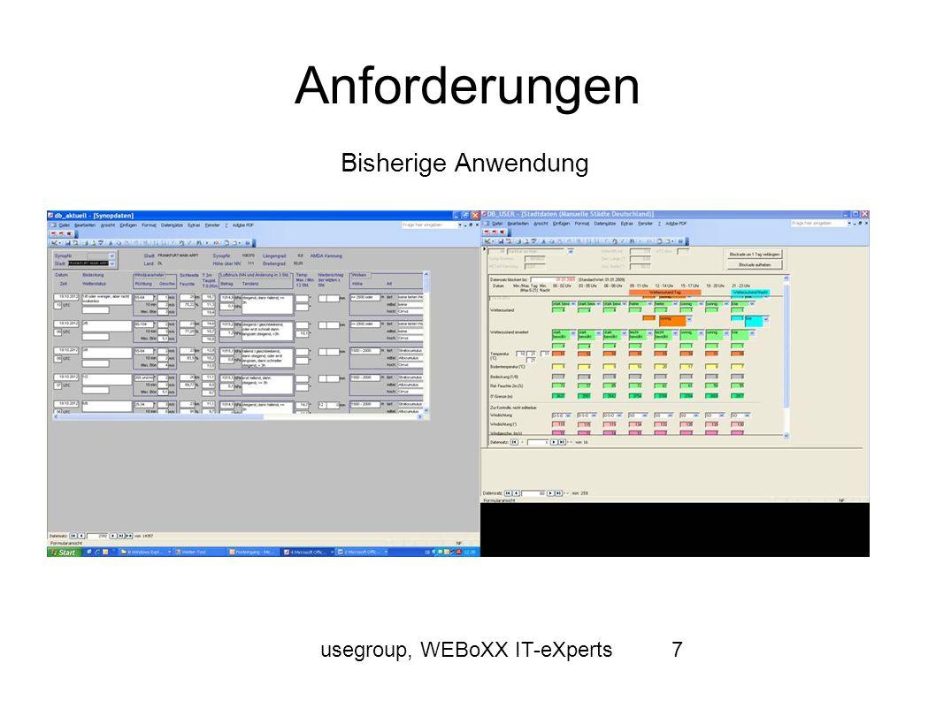 usegroup, WEBoXX IT-eXperts8 Anforderungen Die neu zu erstellende Anwendung sollte eine Deutschlandkarte/Weltkarte darstellen können Durch die Karte soll u.a.