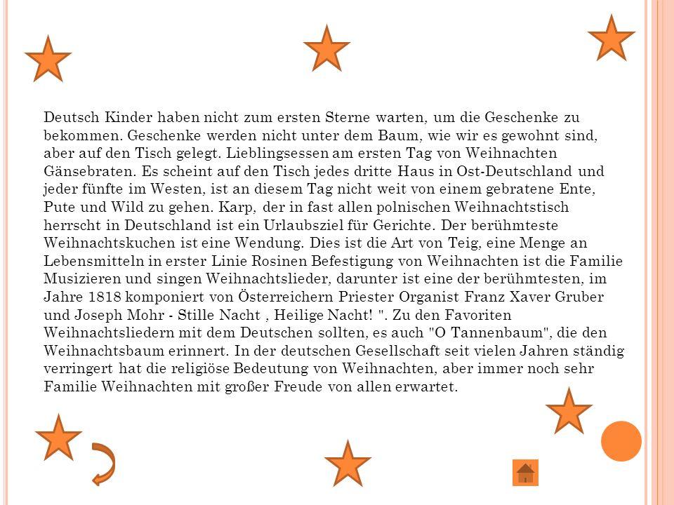 Deutsch Kinder haben nicht zum ersten Sterne warten, um die Geschenke zu bekommen.