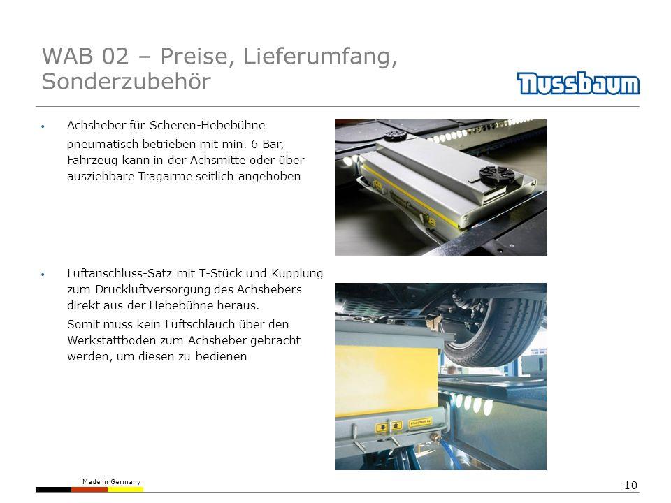 Made in Germany 10 Achsheber für Scheren-Hebebühne pneumatisch betrieben mit min.