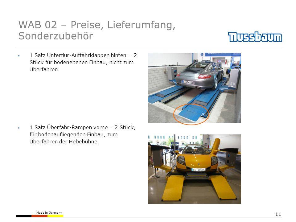 Made in Germany 11 1 Satz Unterflur-Auffahrklappen hinten = 2 Stück für bodenebenen Einbau, nicht zum Überfahren. 1 Satz Überfahr-Rampen vorne = 2 Stü