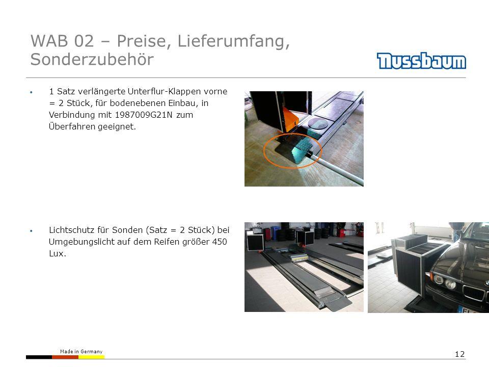 Made in Germany 12 1 Satz verlängerte Unterflur-Klappen vorne = 2 Stück, für bodenebenen Einbau, in Verbindung mit 1987009G21N zum Überfahren geeignet.