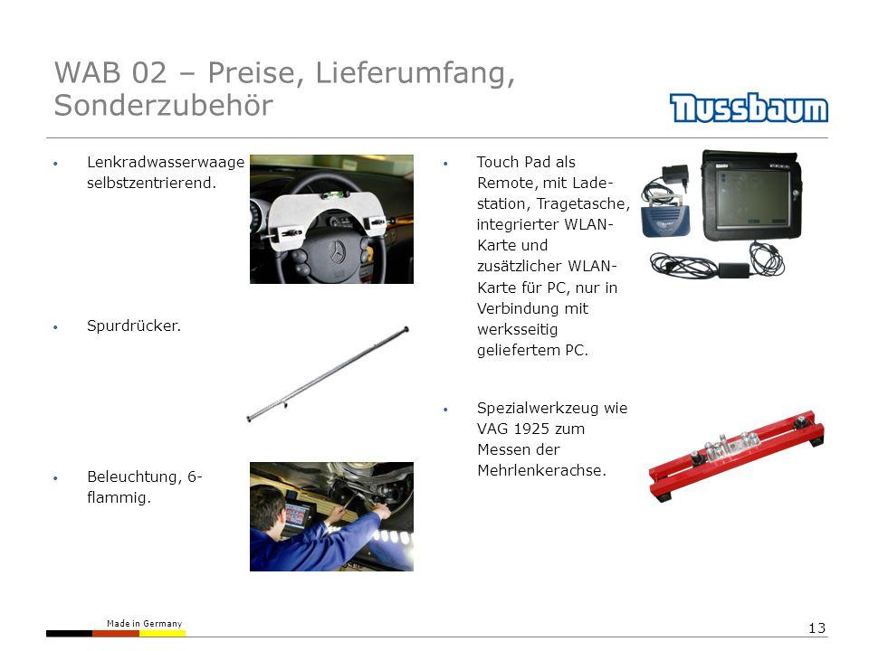 Made in Germany 13 Lenkradwasserwaage selbstzentrierend. Touch Pad als Remote, mit Lade- station, Tragetasche, integrierter WLAN- Karte und zusätzlich