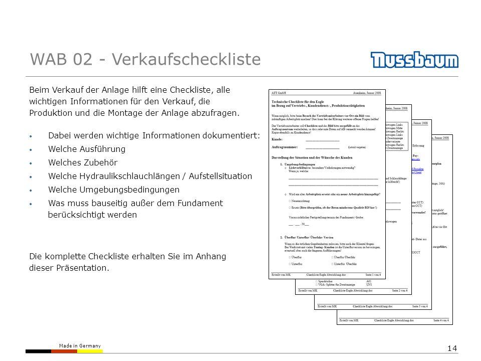 Made in Germany 14 Beim Verkauf der Anlage hilft eine Checkliste, alle wichtigen Informationen für den Verkauf, die Produktion und die Montage der Anlage abzufragen.