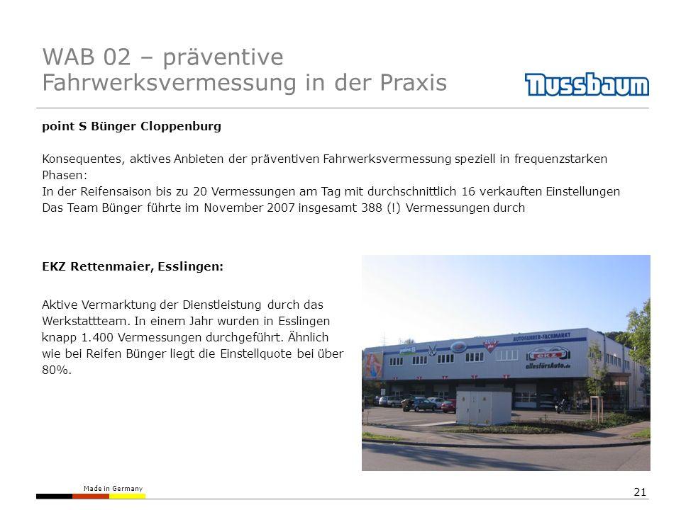 Made in Germany 21 point S Bünger Cloppenburg Konsequentes, aktives Anbieten der präventiven Fahrwerksvermessung speziell in frequenzstarken Phasen: I