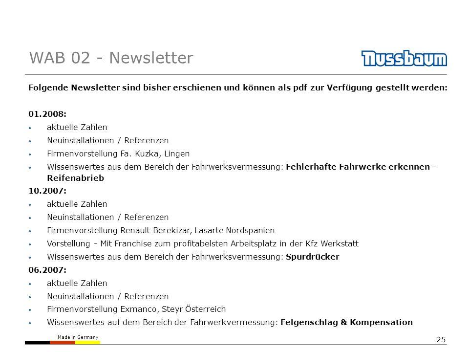 Made in Germany 25 Folgende Newsletter sind bisher erschienen und können als pdf zur Verfügung gestellt werden: 01.2008: aktuelle Zahlen Neuinstallati