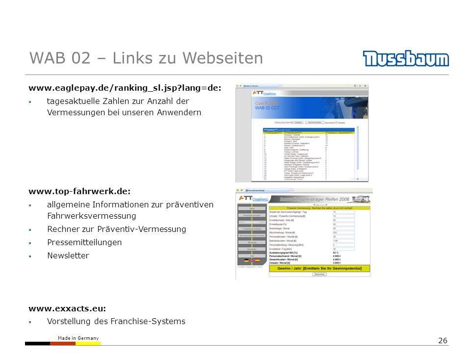 Made in Germany 26 www.eaglepay.de/ranking_sl.jsp?lang=de: tagesaktuelle Zahlen zur Anzahl der Vermessungen bei unseren Anwendern www.top-fahrwerk.de:
