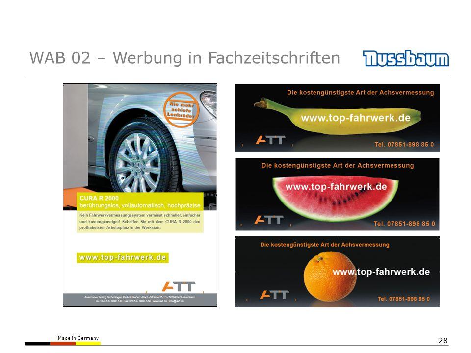 Made in Germany 28 WAB 02 – Werbung in Fachzeitschriften