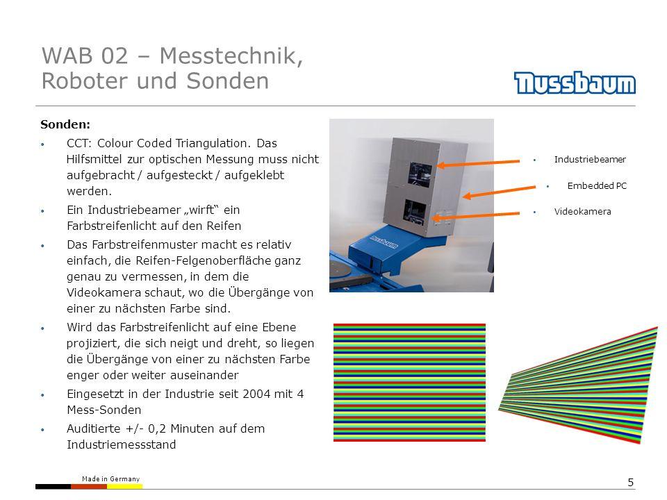 Made in Germany 5 Sonden: CCT: Colour Coded Triangulation. Das Hilfsmittel zur optischen Messung muss nicht aufgebracht / aufgesteckt / aufgeklebt wer