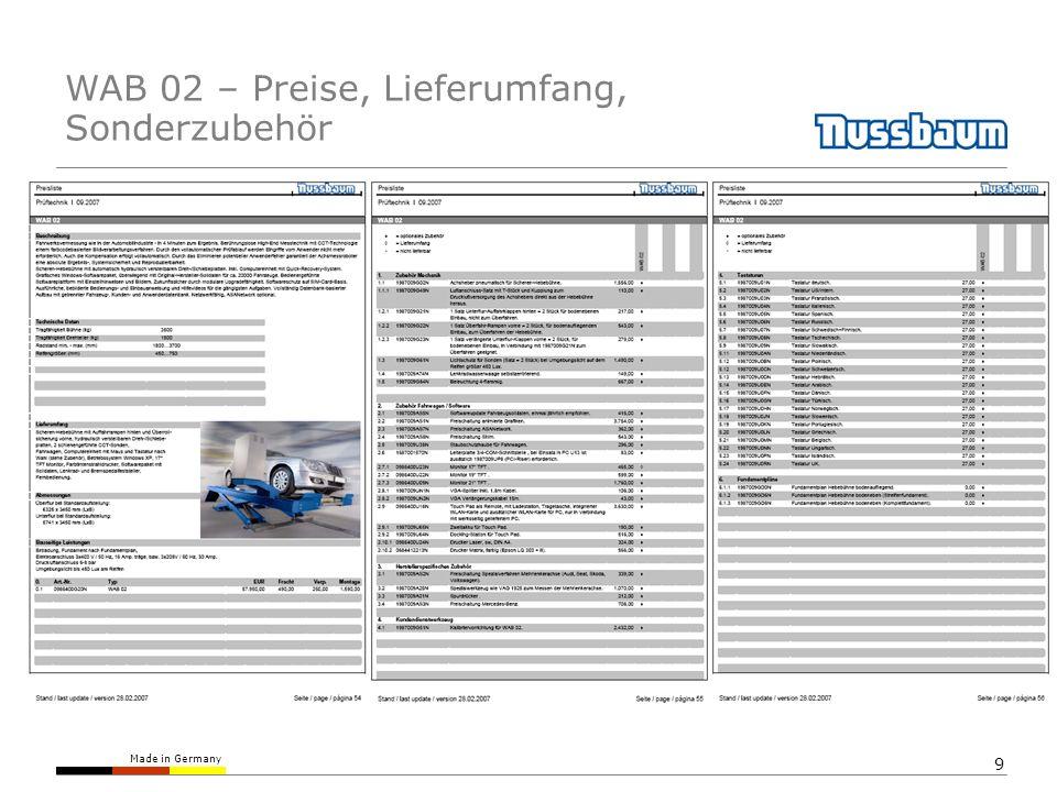 Made in Germany 9 WAB 02 – Preise, Lieferumfang, Sonderzubehör