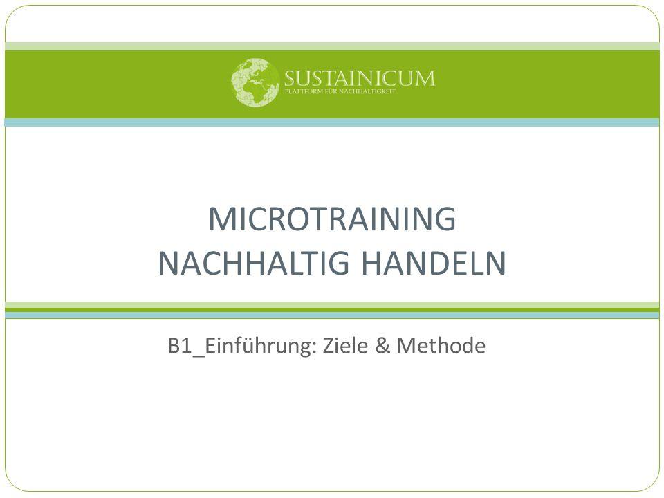 B1_Einführung: Ziele & Methode MICROTRAINING NACHHALTIG HANDELN