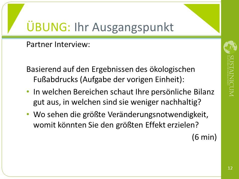 ÜBUNG: Ihr Ausgangspunkt Partner Interview: Basierend auf den Ergebnissen des ökologischen Fußabdrucks (Aufgabe der vorigen Einheit): In welchen Berei