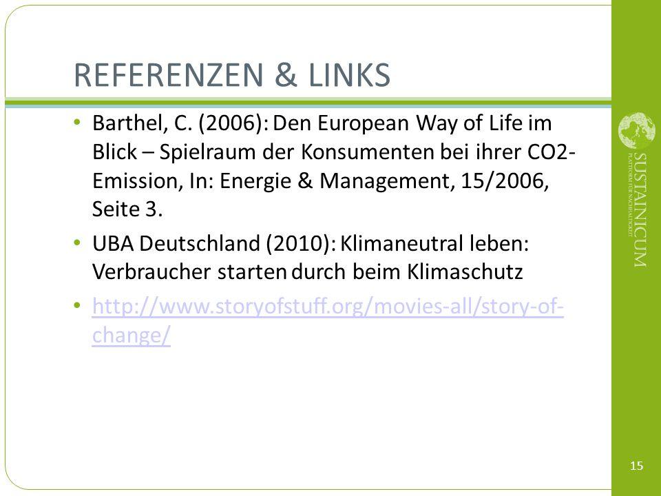 REFERENZEN & LINKS Barthel, C. (2006): Den European Way of Life im Blick – Spielraum der Konsumenten bei ihrer CO2- Emission, In: Energie & Management