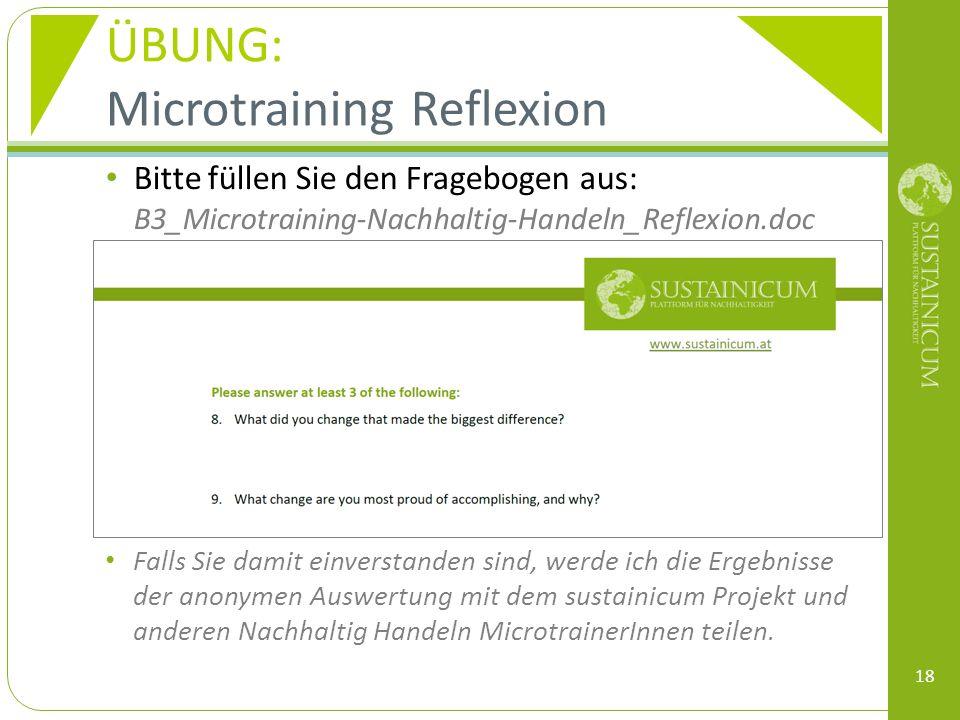 ÜBUNG: Microtraining Reflexion Bitte füllen Sie den Fragebogen aus: B3_Microtraining-Nachhaltig-Handeln_Reflexion.doc Falls Sie damit einverstanden sind, werde ich die Ergebnisse der anonymen Auswertung mit dem sustainicum Projekt und anderen Nachhaltig Handeln MicrotrainerInnen teilen.