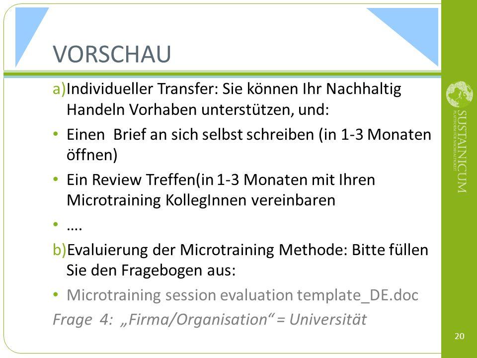 VORSCHAU a)Individueller Transfer: Sie können Ihr Nachhaltig Handeln Vorhaben unterstützen, und: Einen Brief an sich selbst schreiben (in 1-3 Monaten öffnen) Ein Review Treffen(in 1-3 Monaten mit Ihren Microtraining KollegInnen vereinbaren ….