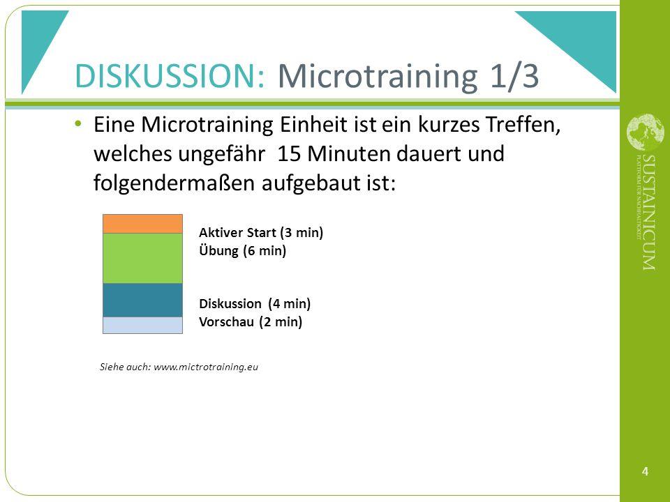DISKUSSION: Microtraining 1/3 Eine Microtraining Einheit ist ein kurzes Treffen, welches ungefähr 15 Minuten dauert und folgendermaßen aufgebaut ist: 4 Siehe auch: www.mictrotraining.eu Aktiver Start (3 min) Übung (6 min) Diskussion (4 min) Vorschau (2 min)