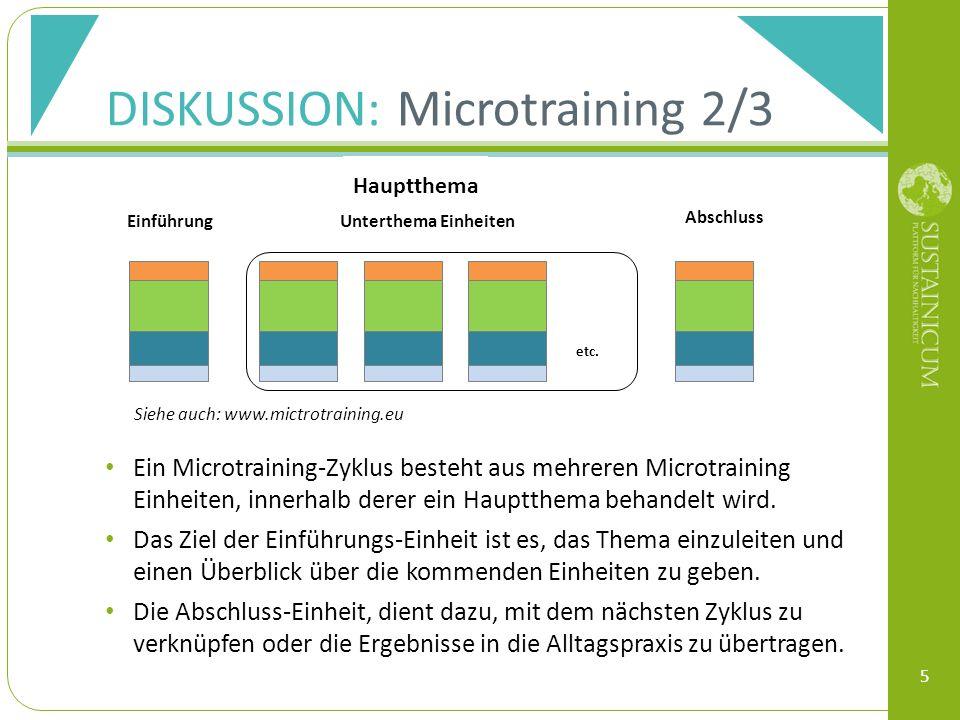 DISKUSSION: Microtraining 2/3 Ein Microtraining-Zyklus besteht aus mehreren Microtraining Einheiten, innerhalb derer ein Hauptthema behandelt wird. Da