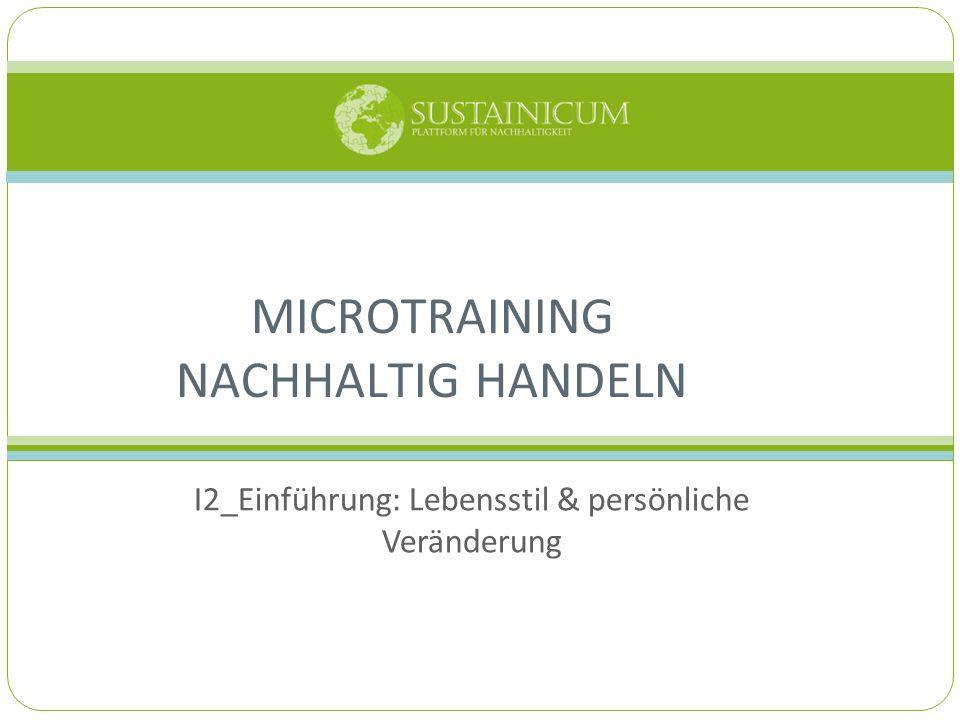 I2_Einführung: Lebensstil & persönliche Veränderung MICROTRAINING NACHHALTIG HANDELN