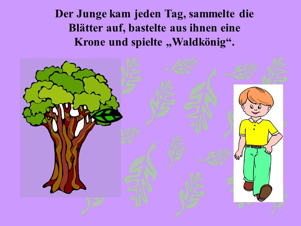 Der Junge kam jeden Tag, sammelte die Blätter auf, bastelte aus ihnen eine Krone und spielte Waldkönig.