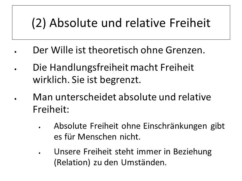 (2) Absolute und relative Freiheit Der Wille ist theoretisch ohne Grenzen. Die Handlungsfreiheit macht Freiheit wirklich. Sie ist begrenzt. Man unters