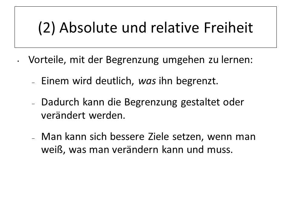 (2) Absolute und relative Freiheit Vorteile, mit der Begrenzung umgehen zu lernen: – Einem wird deutlich, was ihn begrenzt. – Dadurch kann die Begrenz