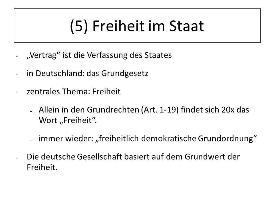 (5) Freiheit im Staat Vertrag ist die Verfassung des Staates in Deutschland: das Grundgesetz zentrales Thema: Freiheit – Allein in den Grundrechten (A