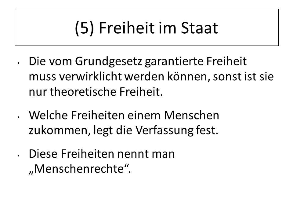(5) Freiheit im Staat Die vom Grundgesetz garantierte Freiheit muss verwirklicht werden können, sonst ist sie nur theoretische Freiheit. Welche Freihe