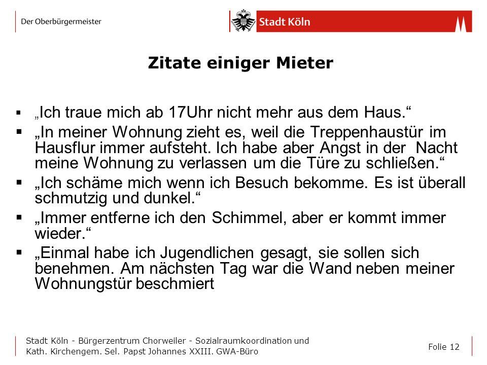 Folie 12 Stadt Köln - Bürgerzentrum Chorweiler - Sozialraumkoordination und Kath. Kirchengem. Sel. Papst Johannes XXIII. GWA-Büro Zitate einiger Miete