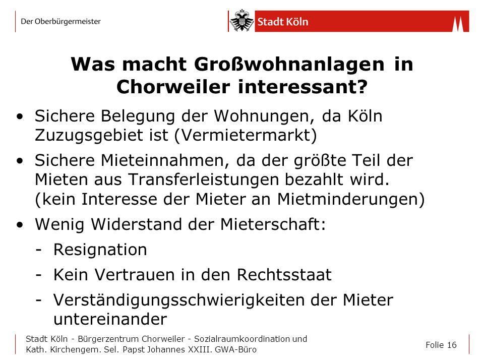 Folie 16 Stadt Köln - Bürgerzentrum Chorweiler - Sozialraumkoordination und Kath. Kirchengem. Sel. Papst Johannes XXIII. GWA-Büro Was macht Großwohnan