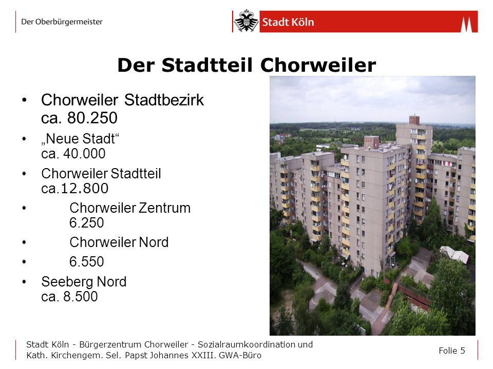 Folie 5 Stadt Köln - Bürgerzentrum Chorweiler - Sozialraumkoordination und Kath. Kirchengem. Sel. Papst Johannes XXIII. GWA-Büro Der Stadtteil Chorwei