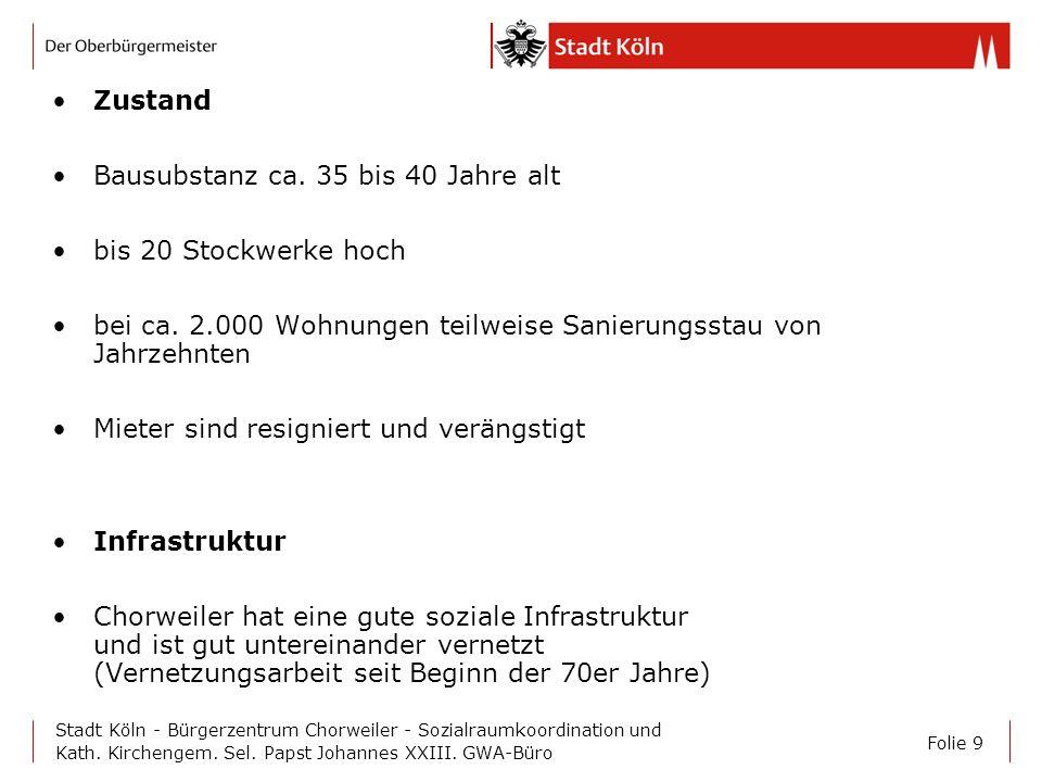 Folie 9 Stadt Köln - Bürgerzentrum Chorweiler - Sozialraumkoordination und Kath. Kirchengem. Sel. Papst Johannes XXIII. GWA-Büro Zustand Bausubstanz c