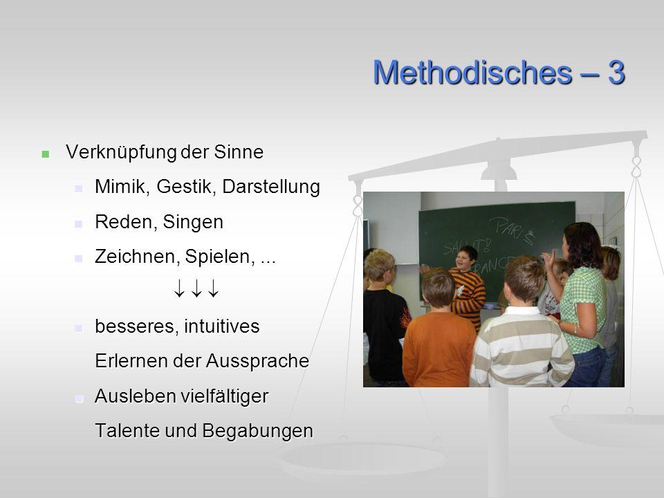 Methodisches – 3 Verknüpfung der Sinne Verknüpfung der Sinne Mimik, Gestik, Darstellung Mimik, Gestik, Darstellung Reden, Singen Reden, Singen Zeichnen, Spielen,...