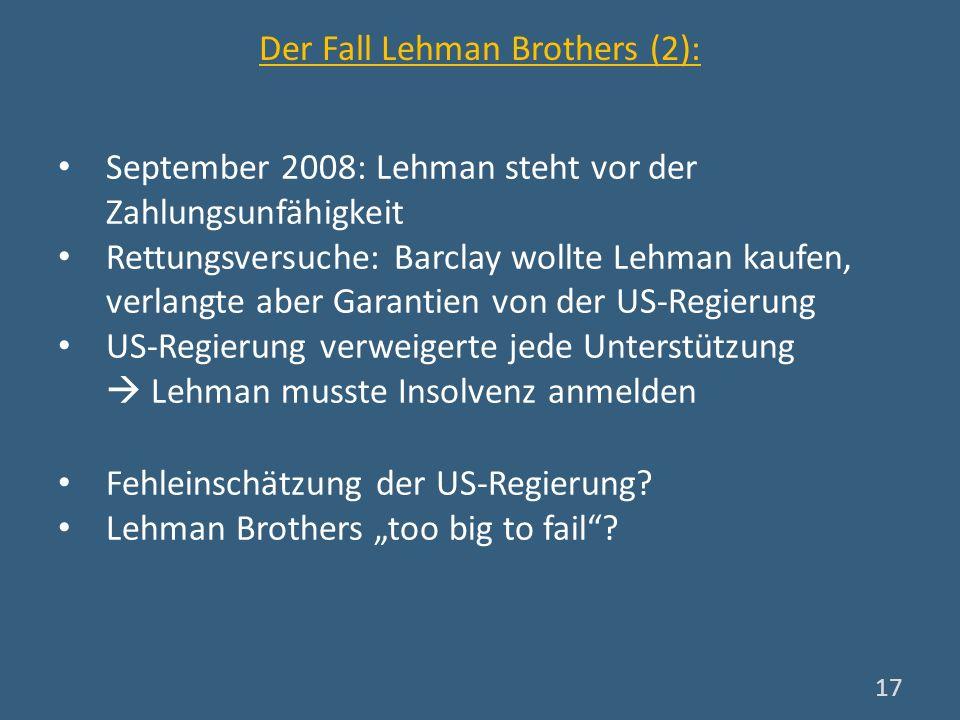 Der Fall Lehman Brothers (2): September 2008: Lehman steht vor der Zahlungsunfähigkeit Rettungsversuche: Barclay wollte Lehman kaufen, verlangte aber