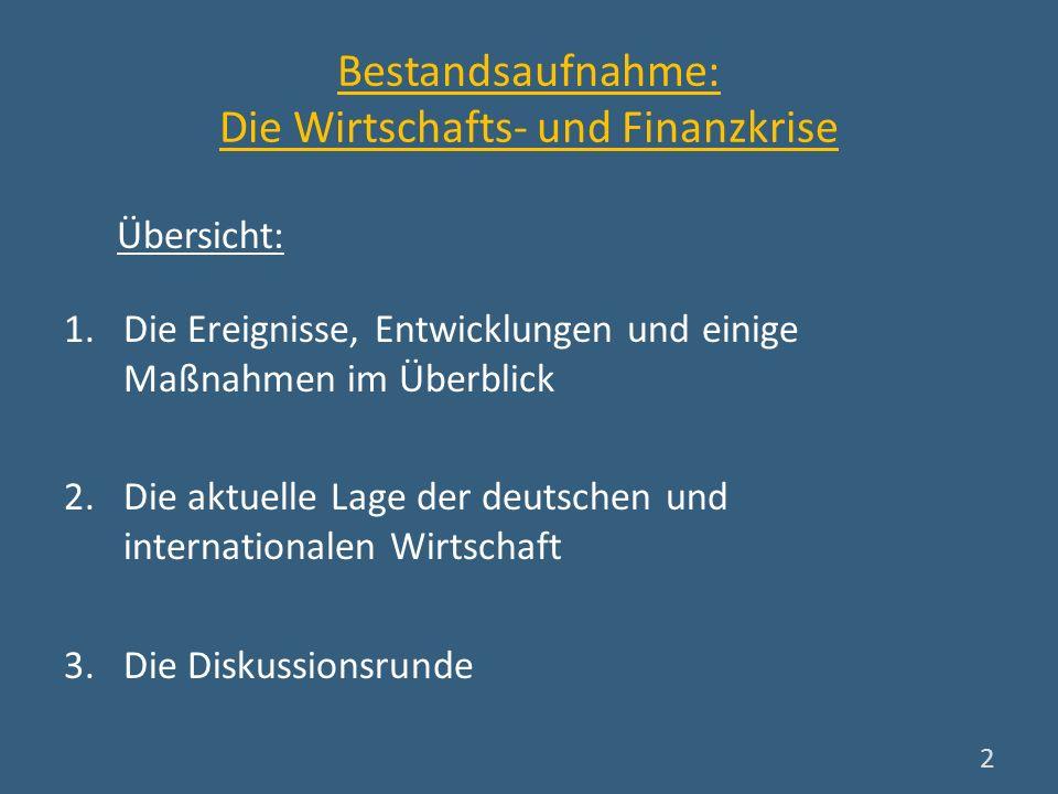 Bestandsaufnahme: Die Wirtschafts- und Finanzkrise 1.Die Ereignisse, Entwicklungen und einige Maßnahmen im Überblick 2.Die aktuelle Lage der deutschen