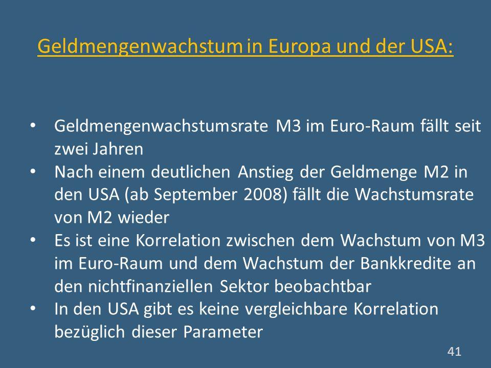 Geldmengenwachstum in Europa und der USA: Geldmengenwachstumsrate M3 im Euro-Raum fällt seit zwei Jahren Nach einem deutlichen Anstieg der Geldmenge M
