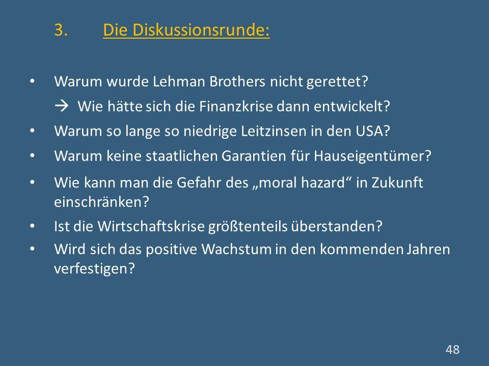 48 3. Die Diskussionsrunde: Warum wurde Lehman Brothers nicht gerettet? Wie hätte sich die Finanzkrise dann entwickelt? Warum so lange so niedrige Lei