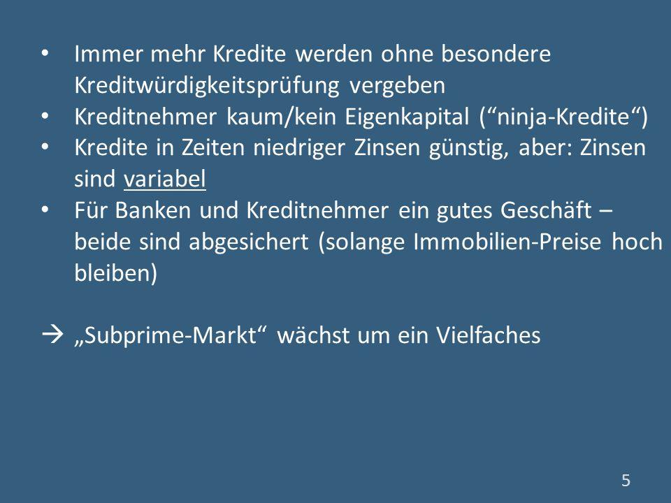 Der Fall Lehman Brothers (1): (Das) Schlüsselereignis der Finanzmarktkrise Lehman: viertgrößte US-Investmentbank 2007: 4 Mrd $ Gewinn (9 Mrd $ Gehälter und Boni) Frühjahr 2008: Henry Paulson (US-Finanzminister) drängt Richard Fuld (CEO Lehman) das Risiko zu senken Warnung wurde weitestgehend ignoriert 16