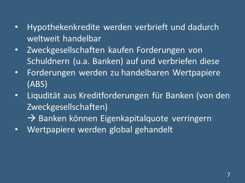 Portfolios aus Wertpapieren (Hypothekenkredite und andere Anleihen und Kredite) (CDO) komplizierte Finanzstrukturen kaum noch erkennbar, welche Risiken verbrieft wurden (sehr) gute Bewertung dieser CDOs durch Rating- Agenturen auch von Institutionen mit strengeren Regulierungen bei ihrer Anlagepolitik erworben Welt finanziert US-Immobilienboom 8