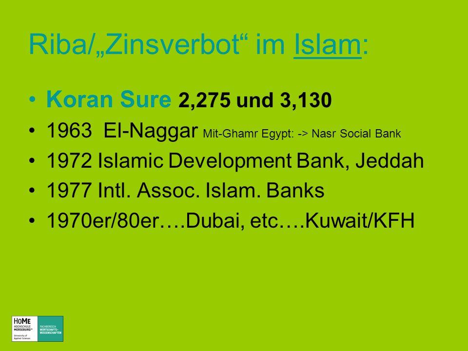 Riba/Zinsverbot im Islam:Islam Koran Sure 2,275 und 3,130 1963 El-Naggar Mit-Ghamr Egypt: -> Nasr Social Bank 1972 Islamic Development Bank, Jeddah 19