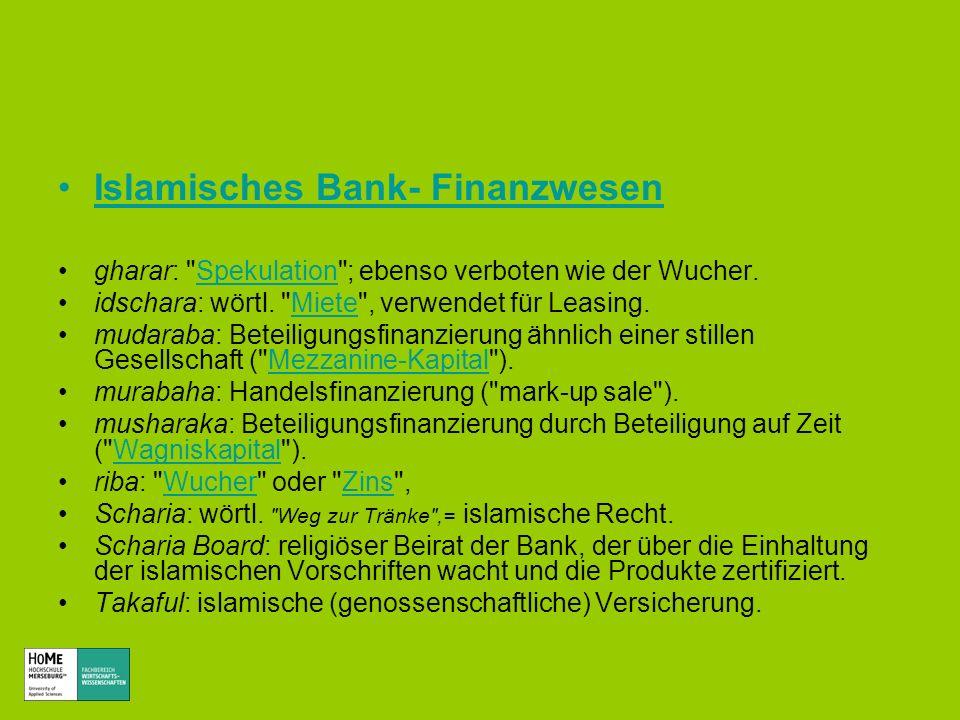 Islamisches Bank- FinanzwesenFinanzwesen gharar:
