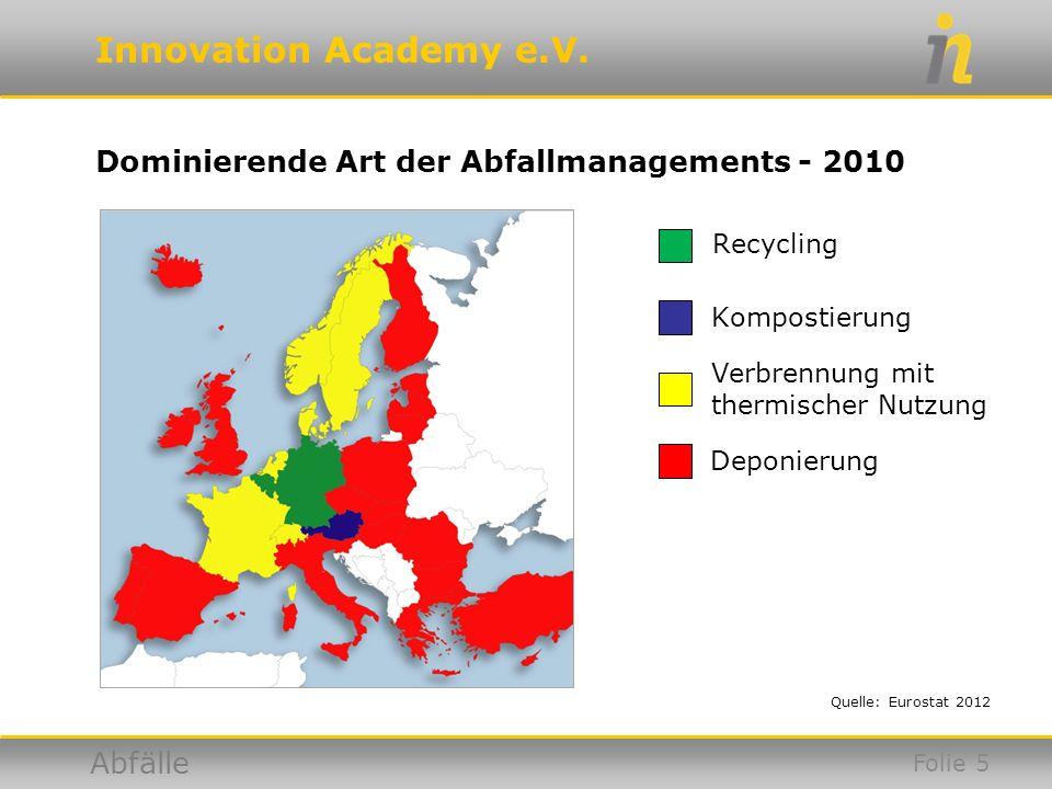 Innovation Academy e.V. Abfälle Dominierende Art der Abfallmanagements - 2010 Quelle: Eurostat 2012 Recycling Kompostierung Verbrennung mit thermische