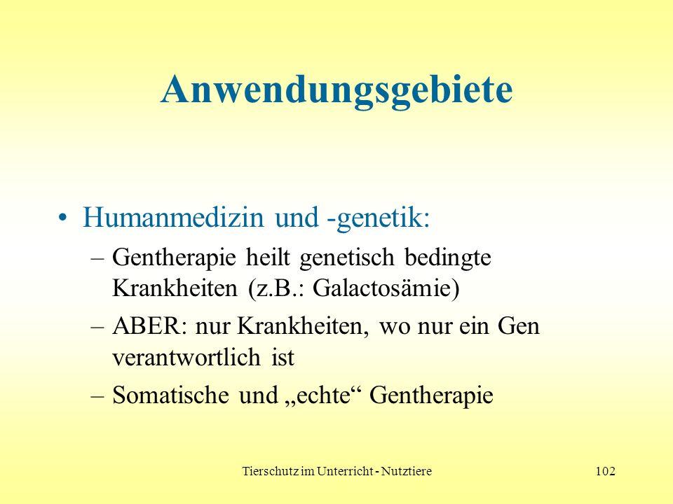 Tierschutz im Unterricht - Nutztiere102 Anwendungsgebiete Humanmedizin und -genetik: –Gentherapie heilt genetisch bedingte Krankheiten (z.B.: Galactos