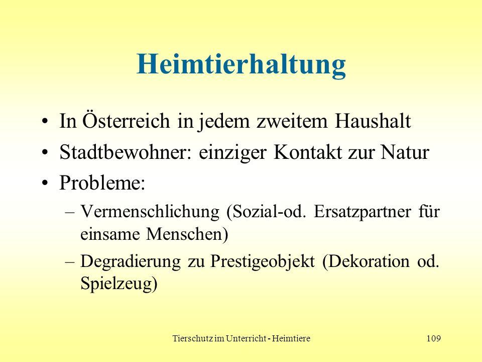 Tierschutz im Unterricht - Heimtiere109 Heimtierhaltung In Österreich in jedem zweitem Haushalt Stadtbewohner: einziger Kontakt zur Natur Probleme: –V