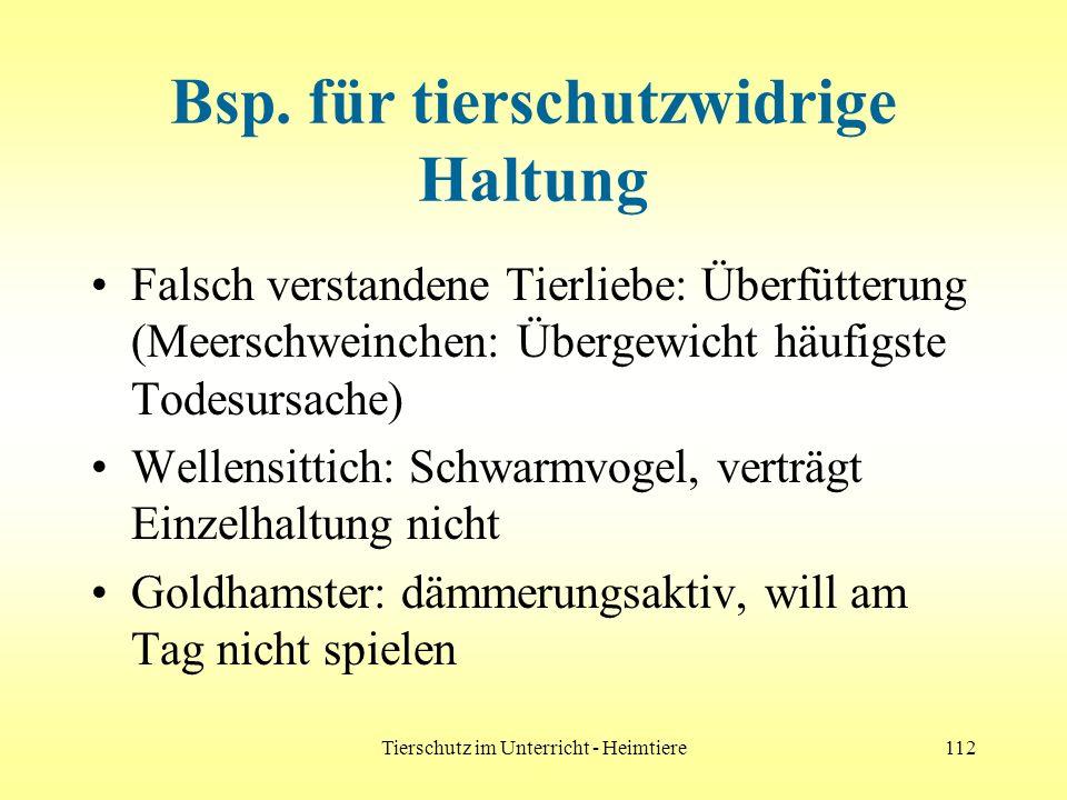 Tierschutz im Unterricht - Heimtiere112 Bsp. für tierschutzwidrige Haltung Falsch verstandene Tierliebe: Überfütterung (Meerschweinchen: Übergewicht h